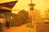 Red dust-storm outside the National Parks office in Griffith, western Riverina, NSW in 2002.