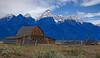 Cliche Barn.......<br /> Barn with Grand Teton range, Grand Teton National Park, Wyoming