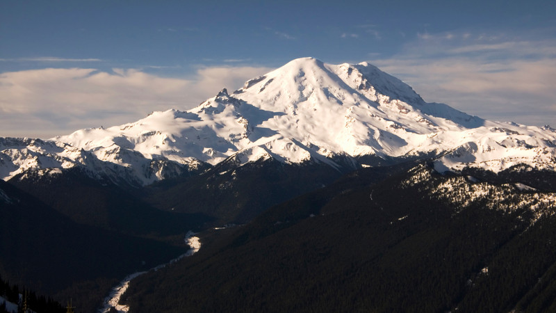 A widescreen panorama view of snow-covered Mount Rainier in the winter.