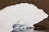 A small ice field is melting into a lake used for drinking water in Mt. Rainier National Park.
