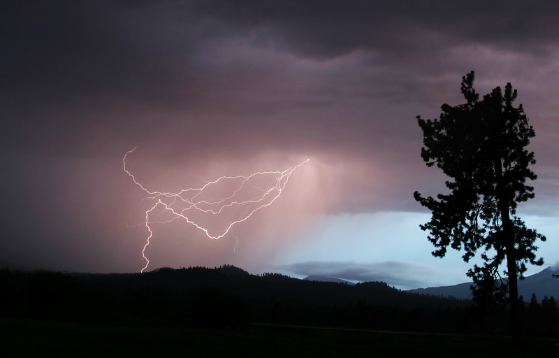 A lightning strike in the Central Oregon Cascade mountains near Black Butte. The energy from the lightning has turned the sky purple as it lights up the rain falling from the thundercloud.
