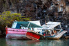 Two abandoned boats shipwrecked along the rocks in the harbor at Puerto Ayora in the Galapagos Islands.