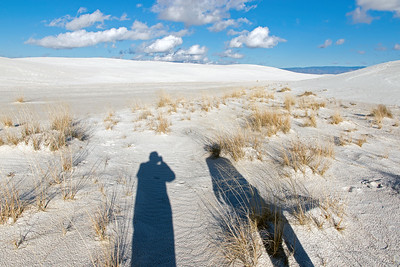 Our shadows in White Sands National Park