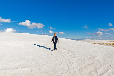 Walking on the gypsum dunes of White Sands National Park
