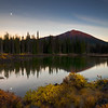 Mount Bachelor and moonrise reflection, Oregon.