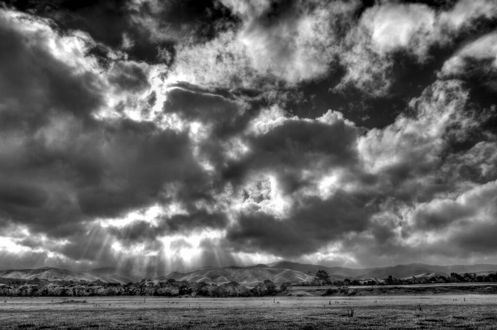 Godbeams, countryside near Masterton, New Zealand