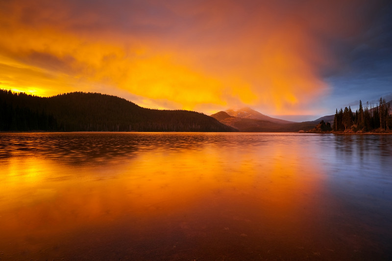Raindrops and light storm, Sparks Lake, Oregon<br /> © Douglas Remington - Ethereal Light Photography, LLC.  All Rights Reserved. Do not copy or download.