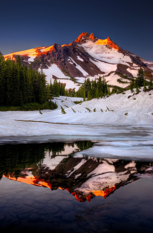 Alpenglow aflame. Mt. Jefferson lights up from early morning sunrise.<br /> © Douglas Remington - Ethereal Light Photography, LLC.  All Rights Reserved. Do not copy or download.