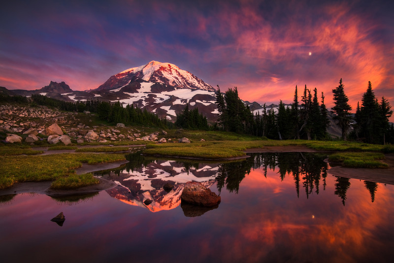 Sunset and moon, Mt. Rainier, Spray Park<br /> © Douglas Remington - Ethereal Light Photography, LLC.  All Rights Reserved. Do not copy or download.