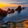 Sunstar and sunset, Oregon Coast