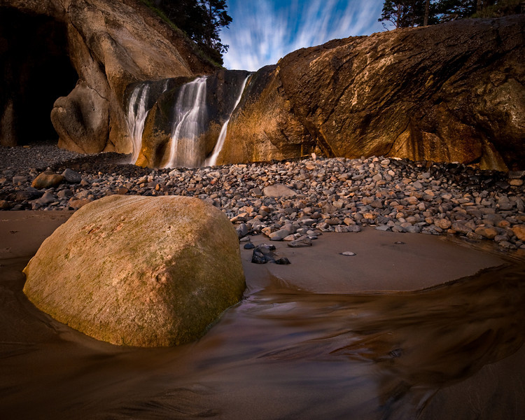 Waterfall at sunset, Hug Point, Oregon Coast.