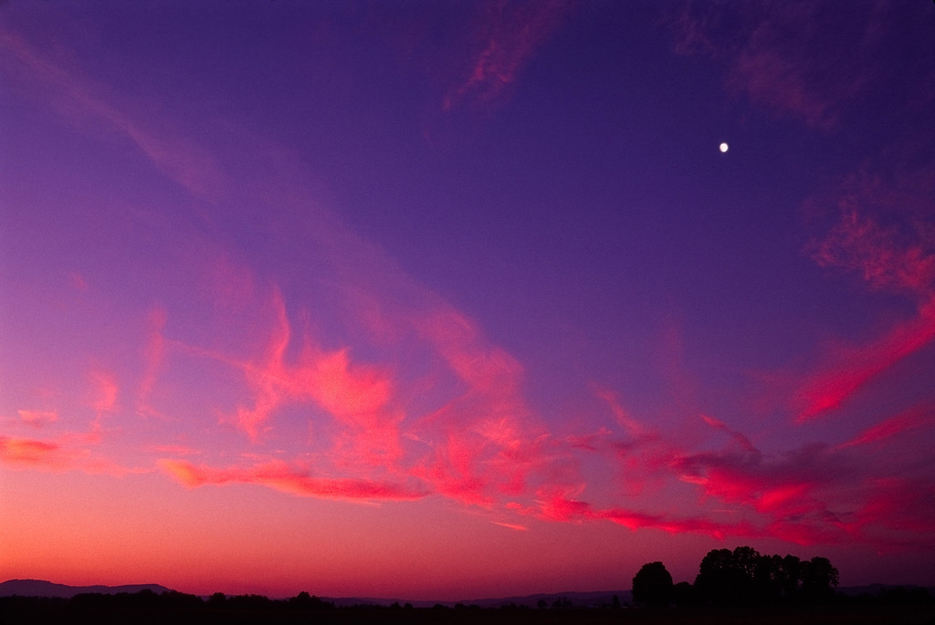 Sunset and moon, western Oregon<br /> © Douglas Remington - Ethereal Light Photography, LLC. All Rights Reserved. Do not copy or download.