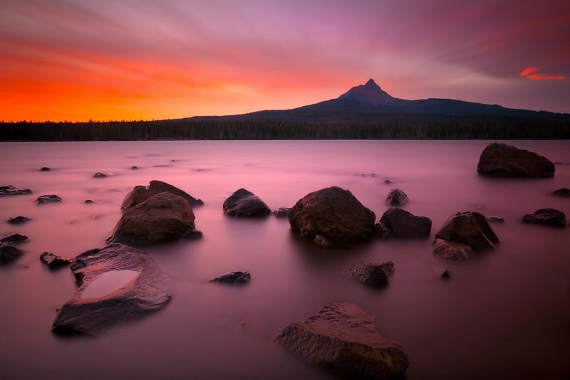 A Garden of Light. Mt. Washington and alpine lake, Oregon.