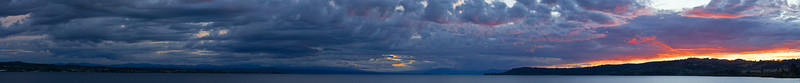 Panorama sunset,  Lake Taupo, North Island, New Zealand. Lake Taupo is the largest fresh water lake in all of Australasia.