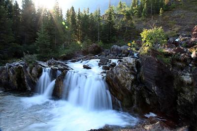 Bull Lake waterfall in Glacier National Park