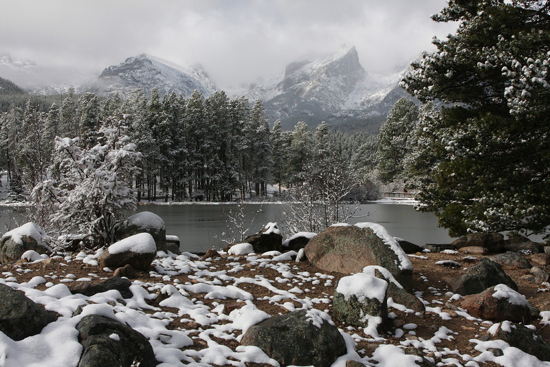 Winter lake and mountains in RMNP