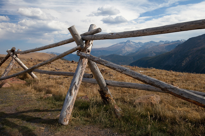 Fence and Mountains on Trail Ridge Road
