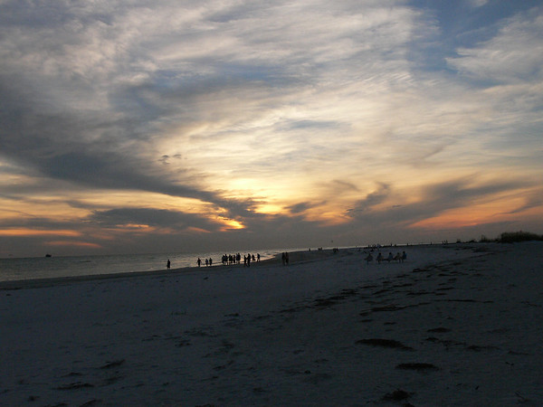 Sunset with people.