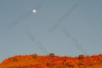 moon,maan,lune,sunset,zonsondergang,coucher de soleil,Jarlmadangah,Australia,Australië