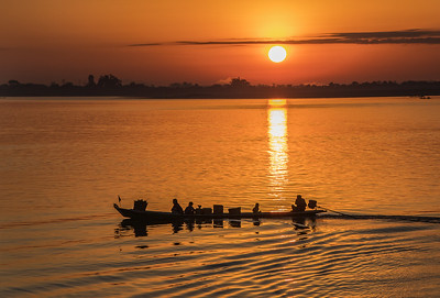 Sunrise on the Chindwin River, Myanmar.