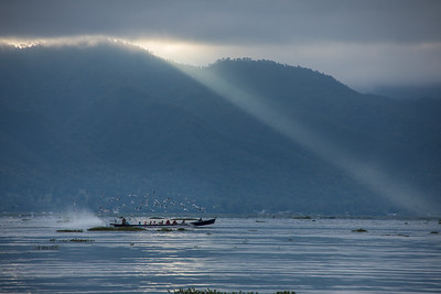 Inle Lake, Myanmar in the early morning mist.