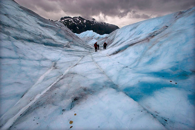 On the Mendenhall Glacier above Juneau, Alaska.