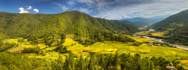 Part of the Mochu River Valley in the larger Punakha Valley, Bhutan.