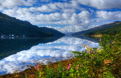 Loch Long in the highlands northwest of Glasgow, Scotland.