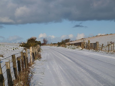 Snow covered road: Ireland