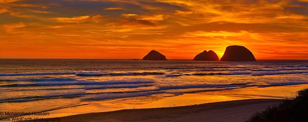 Sunset Over Oregon Coast, Tillamook, OR