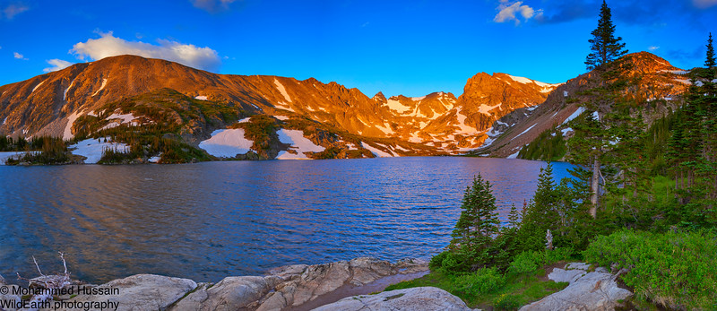 Sunrise over Indian Peaks Wilderness-Lake Isabelle, Ward, CO