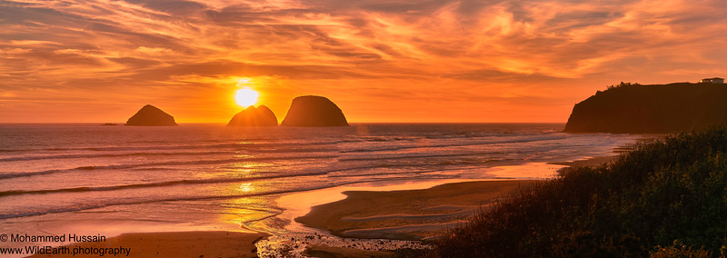 Sunset Over Oregon Coastline, Tillamook, OR