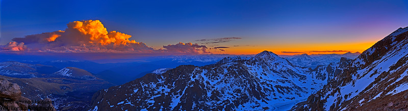 Sunset over Colorado Mountain Ranges view from Mt. Evans Wilderness, Colorado