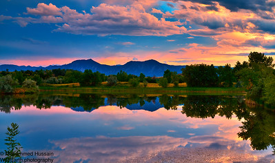 Sunset Over Boulder Flatirons, Walden Ponds Wildlife Habitat, Boulder