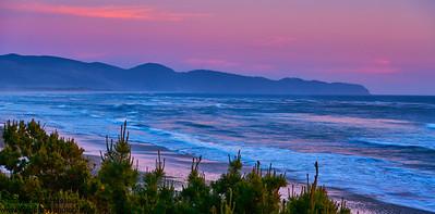 Sunset Over Oregon Coastline, Tillamook, OR
