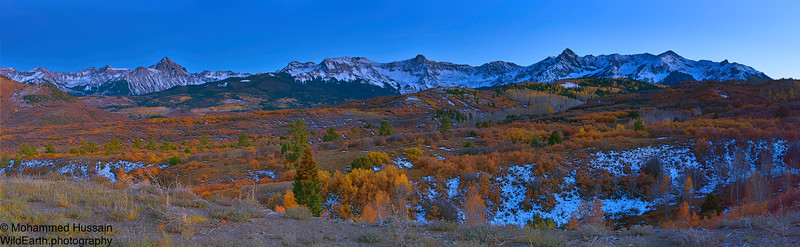 San Juan Skyway - Mt. Sneffels (14,158') on the left and Mears Peak (13,496') on the Right , after the Sunset. Near Ridgway, CO