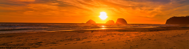 Sunset Over Oregon Beach, Tillamook, OR