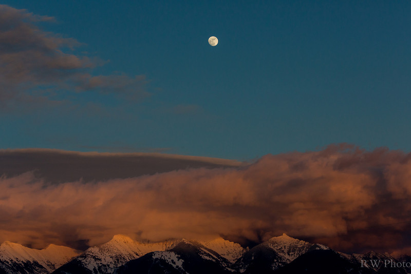 Sunset and full moon rise 2/12/14