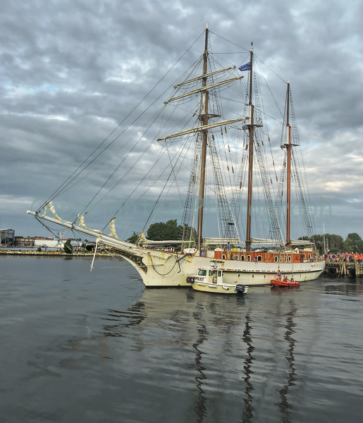 The  Schooner Mystic  Departs