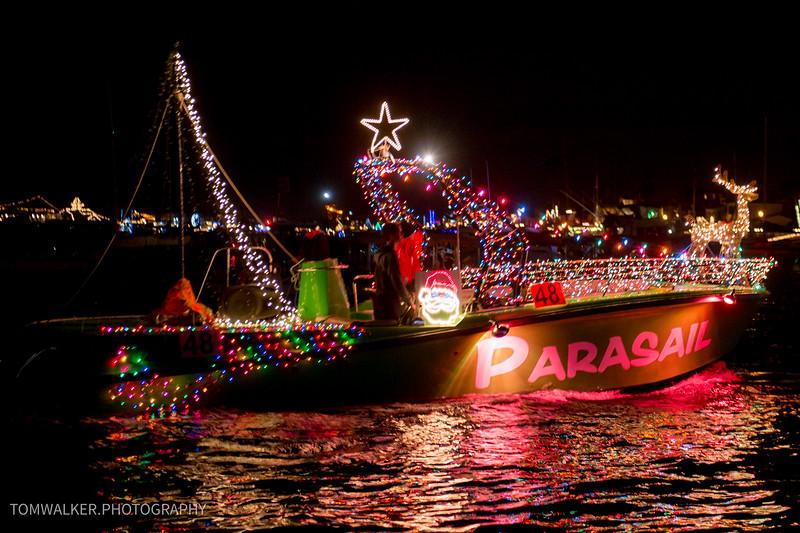 Parasail in Newport Christmas Boat Parade.