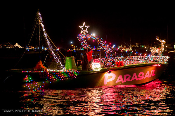 Parasail in Newport Christmas Boat Parade.