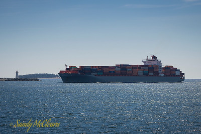 Container ship Allise P arriving.