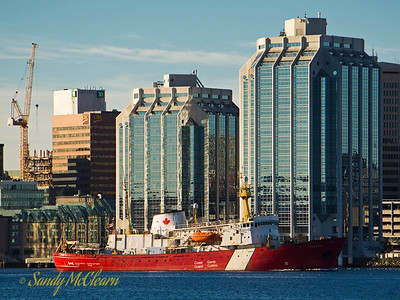 CCGS Hudson returns from the sea as she heads to the BIO wharf further up the harbour.
