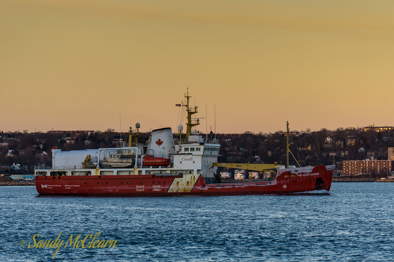 CCGS Sir William Alexander with a bit of icing around the hull.