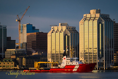 CCGS Earl Grey returning to the Bedford Institute of Oceanography early one morning.