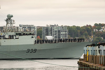 HMCS CHARLOTTETOWN sailpast prior to exercise deployment.