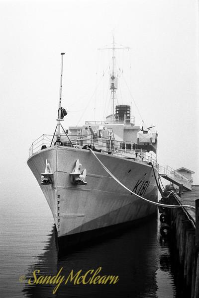 HMCS SACKVILLE in fog on Kodak 400TX film.
