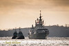 Ice buildup is evident on the topsides of HMCS TORONTO (FFH 333) as she returns to Halifax after a 6 month deployment with NATO's Operation Reassurance.