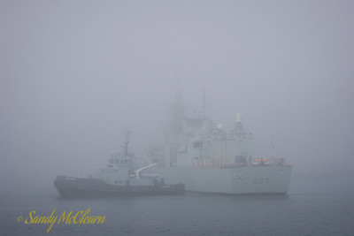 HMCS FREDERICTON (FFH 337) being cold moved in the fog.