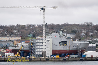 The future HMCS HARRY DEWOLFE under construction at the Halifax Shipyard.